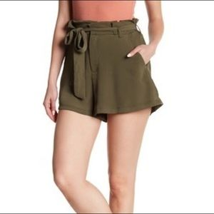 Lush Paper Bag Shorts Olive Green Tie Waist Small